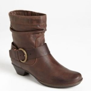 PIKOLINOS BRUJAS BROWN LEATHER SLOUCHY ANKLE BOOTS